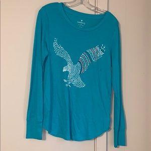 American Eagle Large Long Sleeve Teal T-shirt NWT